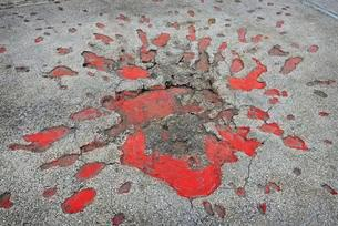 Sarajevo Roses, marks from a mortar explosions during theの写真素材 [FYI02340097]