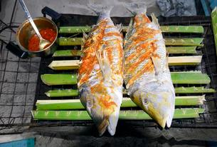 Fish, Creole style snapper on charcoal grill, La Digueの写真素材 [FYI02340174]
