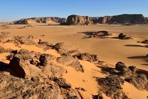 View over Oued In Djerane, Tadrart, Tassili n´ Ajjerの写真素材 [FYI02340214]