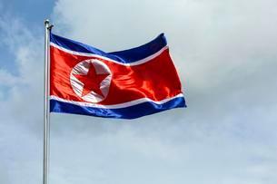 North Korea flag blowing in the windの写真素材 [FYI02340228]