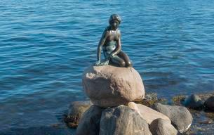 Little Mermaid, bronze sculpture, Langelinie promenadeの写真素材 [FYI02340231]