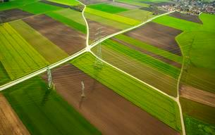 High-voltage transmission lines over farm fields in springの写真素材 [FYI02340240]