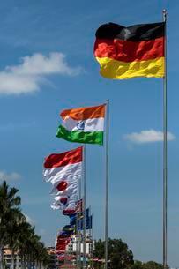 German, Indian, Indonesian, Japanese and Korean flag onの写真素材 [FYI02340278]