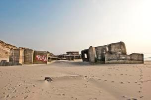 German bunkers from the 2nd World War, Atlantic Wall, onの写真素材 [FYI02340365]