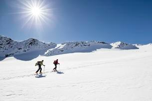 Ski tourers on the ascent to Cima Marmotta in Martellの写真素材 [FYI02340369]