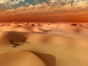 Starting sandstorm, Huacachina, Ica, Atacama Desert, Peruの写真素材 [FYI02340467]