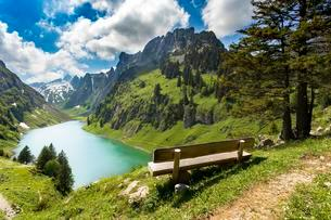 Bench, view of Fahlensee, Rute, Canton of Appenzellの写真素材 [FYI02340527]