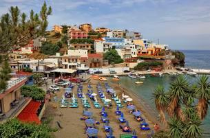Beach with small harbour, Bali, Crete, Greece, Europeの写真素材 [FYI02340572]