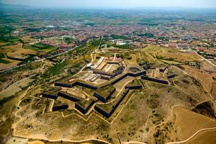 Aerial view, Castell de Sant Ferran or Castillo de Sanの写真素材 [FYI02340593]
