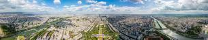 360 degree panorama from Eiffel Tower, Seine River, Champの写真素材 [FYI02340739]