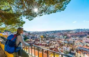 Woman looking at city, Graca viewpoint, Lisbon, Portugalの写真素材 [FYI02340748]
