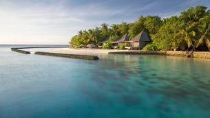 Resort, Gangehi Island, Ari Atoll, Indian Ocean, Maldivesの写真素材 [FYI02340804]