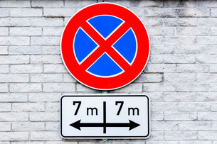 No stopping sign, seven meters to the right and the leftの写真素材 [FYI02340861]