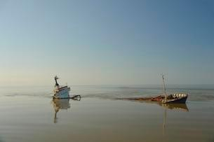 Shipwreck, Sulina branch, Danube Delta, estuary into Blackの写真素材 [FYI02340869]