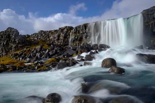 oxararfoss waterfall, Thingvellir, Iceland, Europeの写真素材 [FYI02340916]