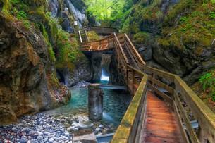 Boardwalk in the Seisenberg Gorge, WeiBbach stream, nearの写真素材 [FYI02340931]