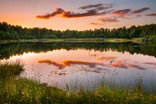 Lake with reflection in evening light, autumn, Schlaubetalの写真素材 [FYI02340935]