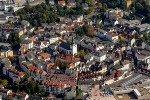 Aerial view, historic centre with Erloserkirche, Church ofの写真素材 [FYI02340940]