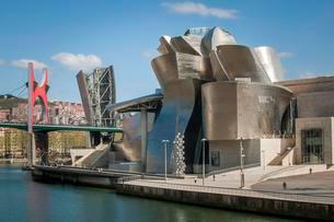Guggenheim Museum Bilbao on the bank of the Nervion Riverの写真素材 [FYI02340951]