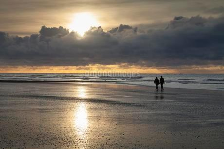 Walkers at coast, evening light, sunset with cloudsの写真素材 [FYI02340987]