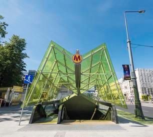 Entrance to the Warsaw Metro, Metro Warszawskie, Warsawの写真素材 [FYI02341069]