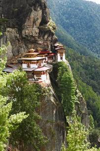 Tiger's Nest Monastery in the cliffside of Paro valleyの写真素材 [FYI02341086]