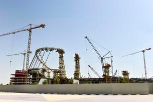 Construction site, Khalifa International Stadium, Dohaの写真素材 [FYI02341107]