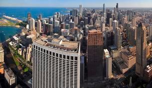 Chicago skyline, view from John Hancock Center, Chicagoの写真素材 [FYI02341129]
