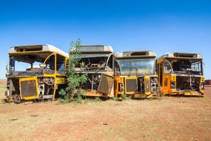 Old buses at the tank cemetery, Asmara, Eritrea, Africaの写真素材 [FYI02341324]