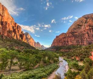 Virgin River flowing through valley, Zion National Parkの写真素材 [FYI02341508]