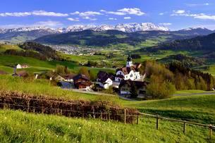 View from the hamlet Schlatt on the Appenzell regionの写真素材 [FYI02341697]