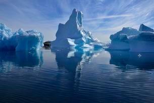 Iceberg drifting in Sermilik Fjord, East Greenlandの写真素材 [FYI02341798]