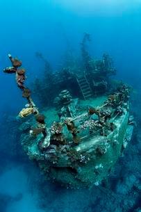 Stern of ship wreck, Russian wreck MS Khanka, former spyの写真素材 [FYI02341915]