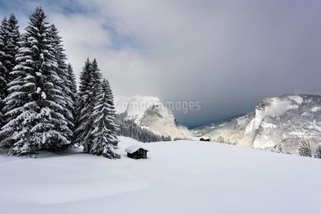 Small country cottage in snowy mountain landscape, peaks ofの写真素材 [FYI02341959]