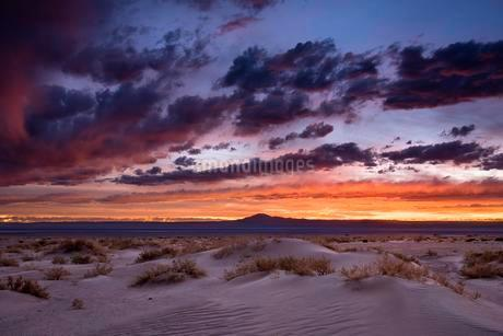 Sunset in the salt desert Salar de Atacama, Sand dune, Sanの写真素材 [FYI02342044]