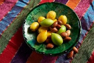 Fresh Argan fruits and Argan nuts (Argania spinosa)の写真素材 [FYI02342080]