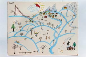 Hills and mountains in winter, skier, children's drawingの写真素材 [FYI02342170]