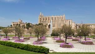 Cathedral La Seu, Palma de Majorca, Spain, Europeの写真素材 [FYI02342285]