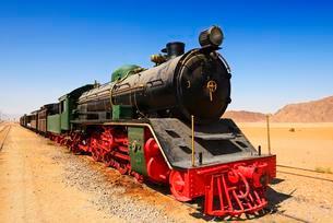 Hijaz Railway, Locomotive, Ad Disa, Wadi Rum Stationの写真素材 [FYI02342344]