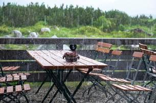 Thunderstorm with hail, terrace of the Traunstein mountainの写真素材 [FYI02342554]