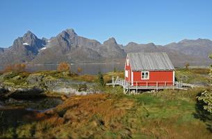 Autumnal landscape with fishing hut in Trollfjordの写真素材 [FYI02342564]
