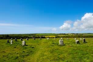 Merry Maidens or Rosemodress Circle, Bronze Age stoneの写真素材 [FYI02342631]