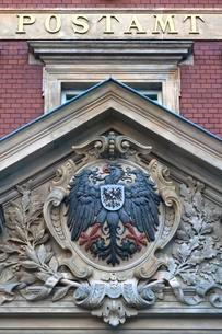 Imperial eagle on gable, post office, 1887, Gorlitz, Upperのイラスト素材 [FYI02342739]