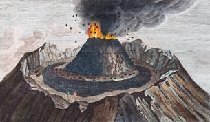 Active volcano Vesuvius, hand-coloured copperplateのイラスト素材 [FYI02342740]