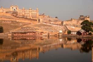 Amber Fort and Maota Lake, Jaipur, Rajasthan, India, Asiaの写真素材 [FYI02342786]