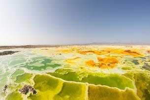 Sulphur sediments in the thermal area of Dallolの写真素材 [FYI02342815]