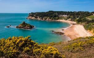Overlook over Portelet bay, Jersey, Channel Islands, Unitedの写真素材 [FYI02342828]
