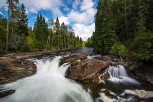 Wild River with Waterfall, near Dawson Falls, Wells Grayの写真素材 [FYI02342859]