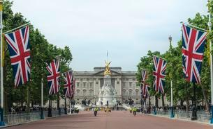 Buckingham Palace and The Mall, flagged street, Southwarkの写真素材 [FYI02342915]