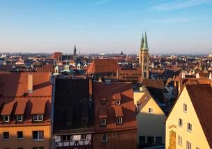 View from castle on the historic centre, front St. Sebaldusの写真素材 [FYI02342923]